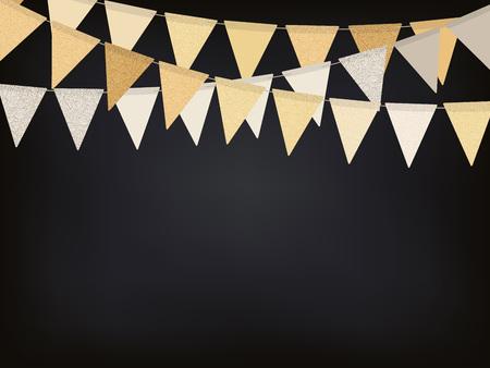 Birthday background with golden flag garlands on the chalkboard, vector illustration Vettoriali