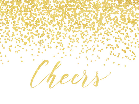 holiday invitation: New Year card or invitation design with golden foil confetti and handlettering