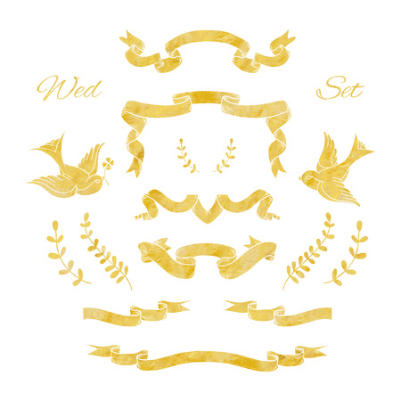 christmas element: Set of gold ribbons and decorative elements for cards and invitations with the gold foil texture