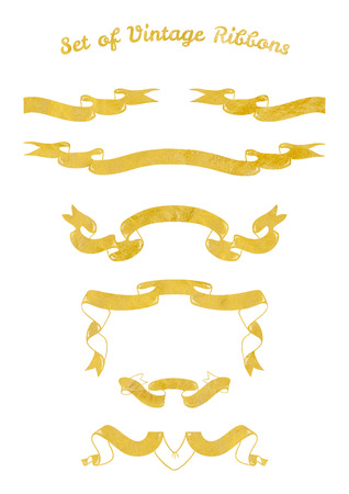 with sets of elements: Set of gold ribbons for cards, invitations and web banners with the gold foil texture Stock Photo