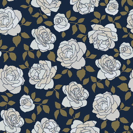 Seamless vector pattern made of hand drawn white roses on indigo background Illustration
