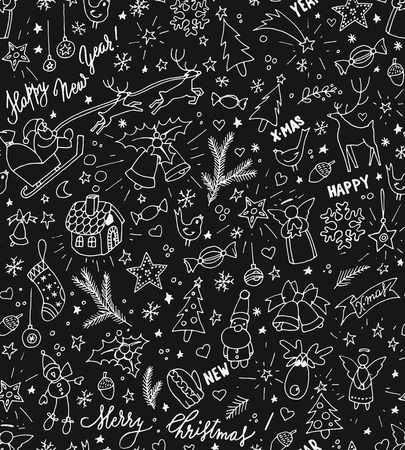 outline bird: Sketchy doodle winter Christmas and New Year pattern, vector illustration
