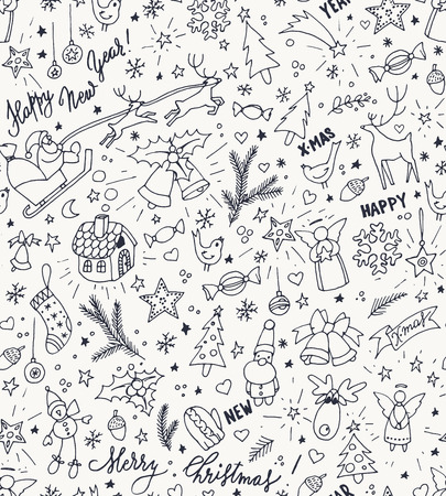 christmas tree decoration: Sketchy doodle winter Christmas and New Year pattern, vector illustration