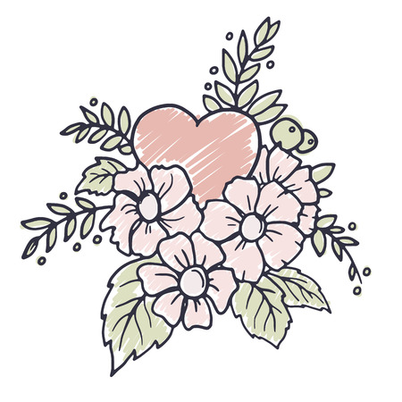 hand drawn flower: Hand drawn design element with heart, flowers, leaves and decorative florals, vector illustration Illustration