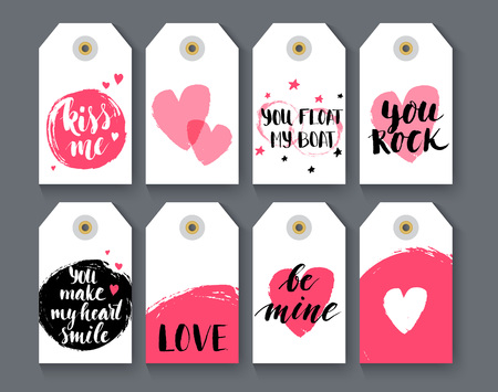 Heart shape label set with handlettering, vector illustration