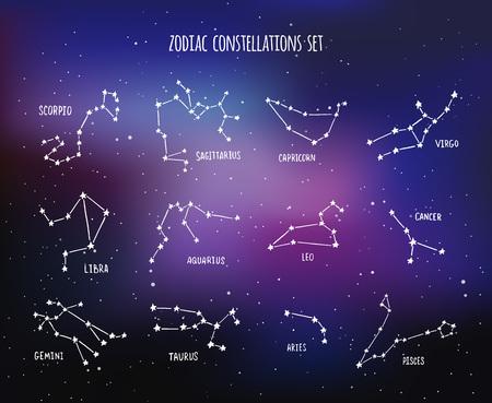 costellazioni: Dodici costellazioni zodiacali disegnati a mano sullo spazio sfondo, set di disegno vettoriale
