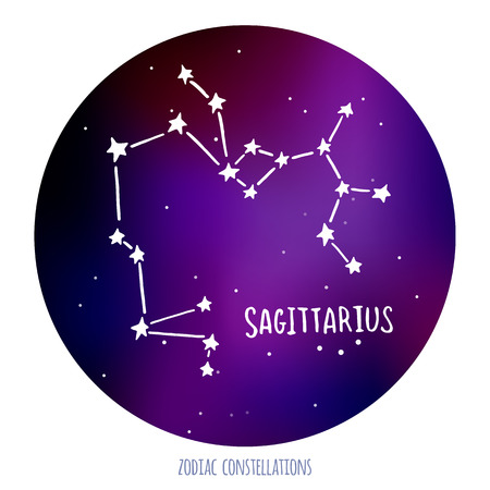 zodiacal: Sagittarius vector sign. Zodiacal constellation made of stars on space background. Vector horoscope illustration. Illustration