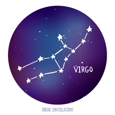zodiacal sign: Virgo vector sign. Zodiacal constellation made of stars on space background. Vector horoscope illustration.