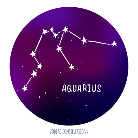 zodiacal sign: Aquarius vector sign. Zodiacal constellation made of stars on space background. Vector horoscope illustration.