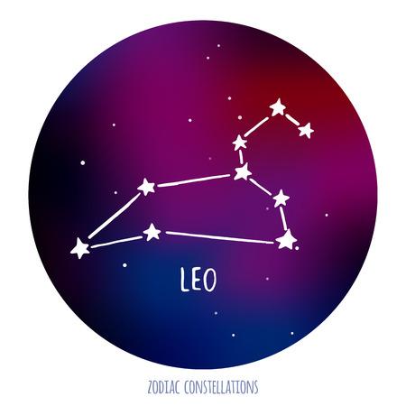 Leo segno vettoriale. costellazione zodiacale fatta di stelle su sfondo spazio. Vector horoscope illustrazione. Vettoriali