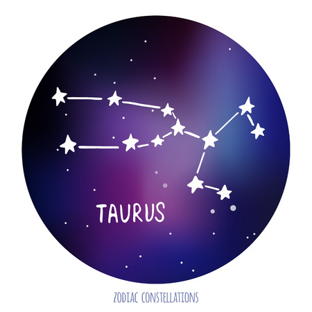 zodiacal sign: Taurus vector sign. Zodiacal constellation made of stars on space background. Vector horoscope illustration. Illustration