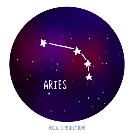 zodiacal sign: Aries vector sign. Zodiacal constellation made of stars on space background. Vector horoscope illustration. Illustration