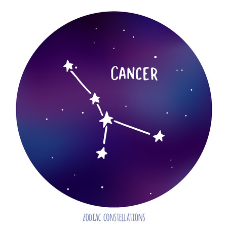 zodiacal: Cancer vector sign. Zodiacal constellation made of stars on space background. Vector horoscope illustration.