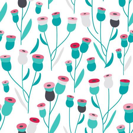 scandinavian: Seamless bright scandinavian floral pattern, vector illustration Illustration
