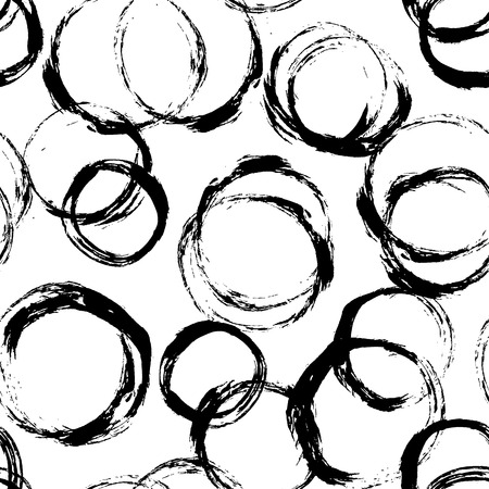 Seamless hand drawn pattern tile with distressed dry brush circles and spots, vector illustration