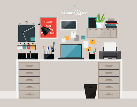 home office interior: Flat  design of  home office interior with desk and laptop, vector illustration Illustration