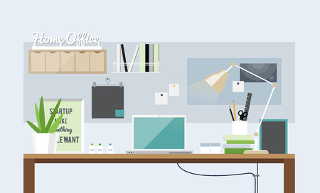 home office interior: Flat design of light home office interior, vector
