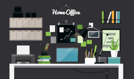 home office interior: Flat illustration of dark home office workspace interior, vector Illustration
