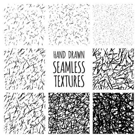 messy: Set of eight black and white seamless hand drawn texture designs for backgrounds, vector illustration