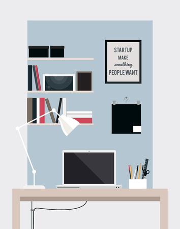 Flat huis kantoor interieur illustratie met desktop, vector