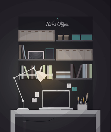 home office interior: Flat home office interior illustration with desktop, vector Illustration