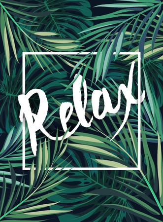 flores exoticas: Verano de fondo hawaiano tropical con Leavs de palmeras y plantas exóticas, cartel vector verano