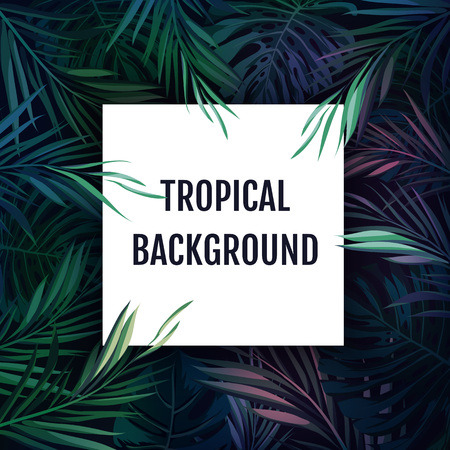 beach ad: Summer tropical hawaiian sale background with palm tree leavs and exotic plants, space for text, vector illustration.