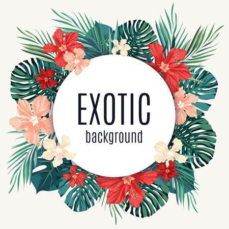 Verano fondo tropical venta hawaiano con leavs de palmeras y flores exóticas, el espacio para el texto, ilustración vectorial.