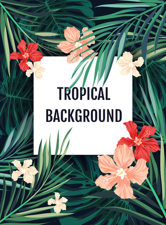 Summer tropical hawaiian sale background with palm tree leavs and exotic flowers, space for text, vector illustration. Banco de Imagens - 55467358