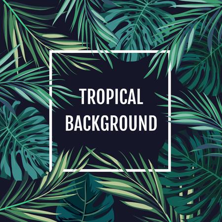 팜 트리 leavs와 이국적인 식물, 텍스트를위한 공간, 벡터 일러스트 레이 션 여름 열대 하와이 판매 배경.