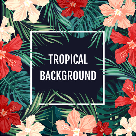 Summer tropical hawaiian sale background with palm tree leavs and exotic flowers, space for text, vector illustration.