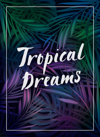 beach ad: Summer tropical hawaiian background with palm tree leavs and exotic plants, summer vector poster