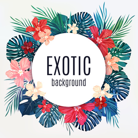 exotic: Summer tropical hawaiian sale background with palm tree leavs and exotic flowers, space for text, vector illustration. Illustration