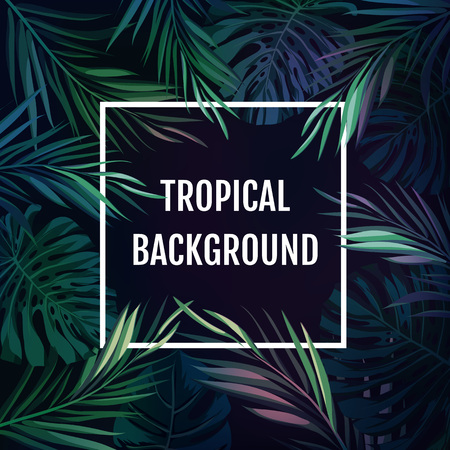 beach ad: Summer tropical hawaiian sale background with palm tree leaves and exotic plants, space for text, illustration.