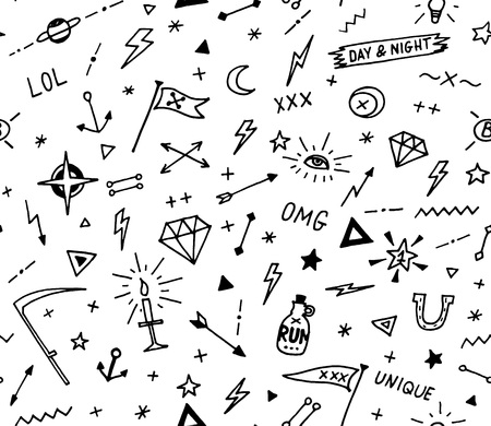 pattern with old school tattoo elements. Seamless background. Black and white. Vector Illustration