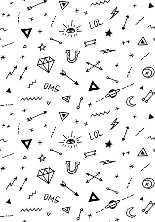 pattern with old school tattoo elements. Seamless background. Black and white.