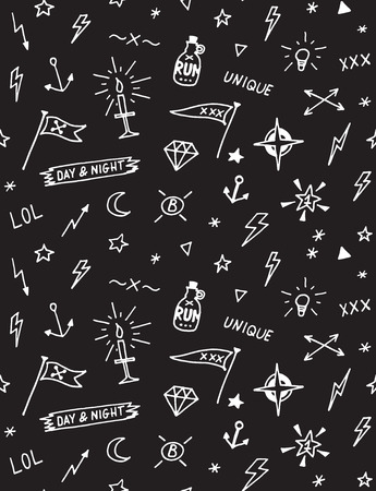 old school: pattern with old school tattoo elements. Seamless background. Black and white.