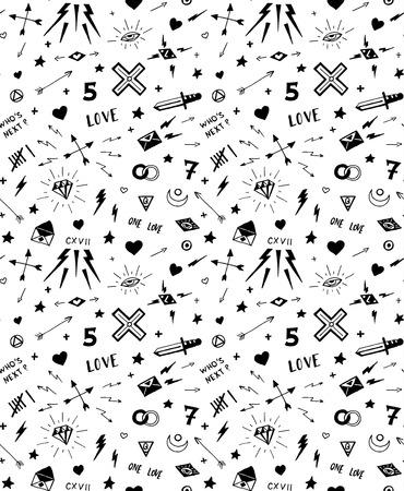 modèle avec des éléments de tatouage old school. Seamless background. Noir et blanc.