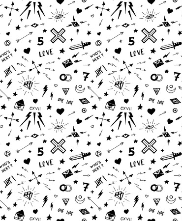 diamond letters: pattern with old school tattoo elements. Seamless background. Black and white.