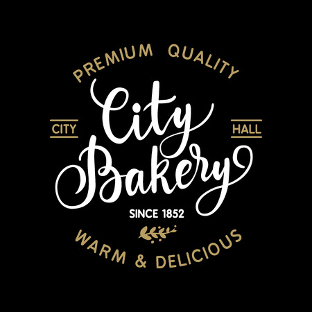 calligraphical: Vintage hand made calligraphical bakery logo, vector illustration Illustration