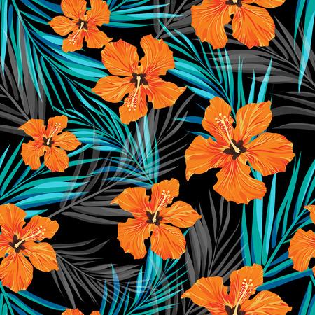 여름 열 대 하와이 판매 배경 팜 트리 나뭇잎과 이국적인 꽃, 텍스트, 벡터 일러스트 레이 션을위한 공간.