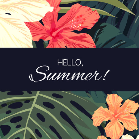 Summer tropical hawaiian background design with palm tree leaves and exotic flowers, vector illustration Banco de Imagens - 57175452