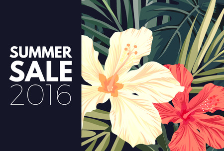 beach ad: Summer tropical hawaiian background design with palm tree leaves and exotic flowers, vector illustration