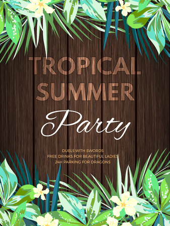 beach party: Bright hawaiian design with tropical plants and hibiscus flowers, vector illustration Illustration