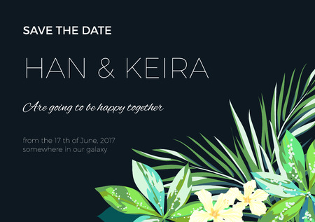 Wedding invitaion and card design with exotic tropical flowers and leaves, vector illusrtation Vectores