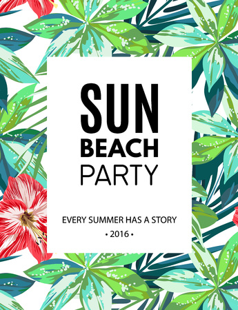 advertising text: Bright hawaiian design with tropical plants and hibiscus flowers, vector illustration Illustration