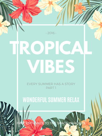 Bright hawaiian design with tropical plants and hibiscus flowers, vector illustration Vettoriali