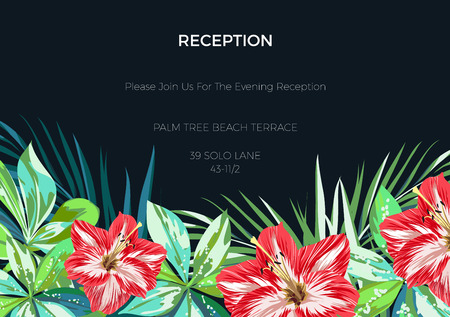 wedding backdrop: Wedding invitaion and card design with exotic tropical flowers and leaves, vector illusrtation Illustration