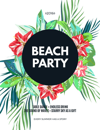 white party: Bright hawaiian design with tropical plants and hibiscus flowers, vector illustration Illustration