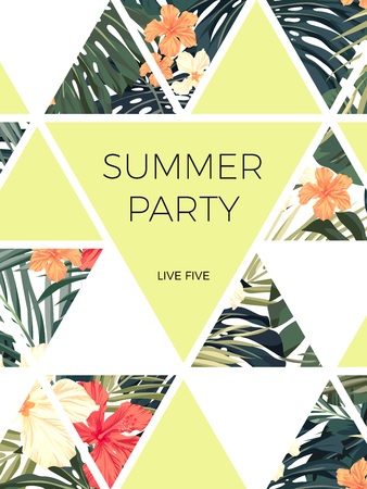 seaside resort: Bright hawaiian design with tropical plants and hibiscus flowers Illustration